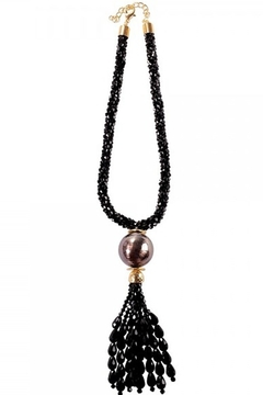 Shoptiques Product: Black beaded necklace with tassel
