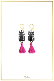 Malia Jewelry Black-Beetle Fiuscha-Tassel Earrings - Product Mini Image