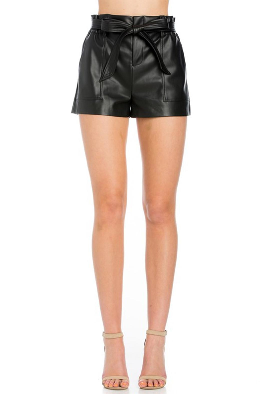 Comme USA Black Belted Shorts - Side Cropped Image