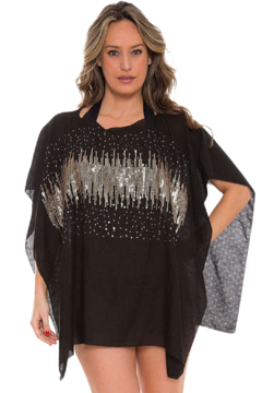 Janice Apparel Black Bling Poncho - Product List Image