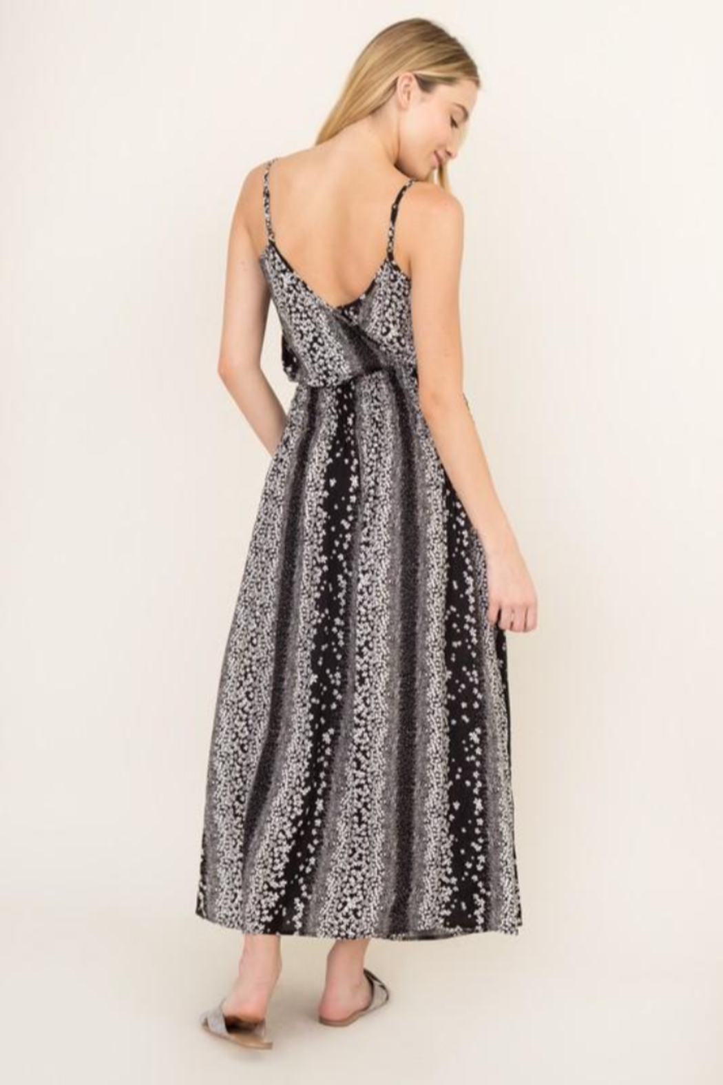 Olivaceous  Black Blossom Maxi Dress - Side Cropped Image