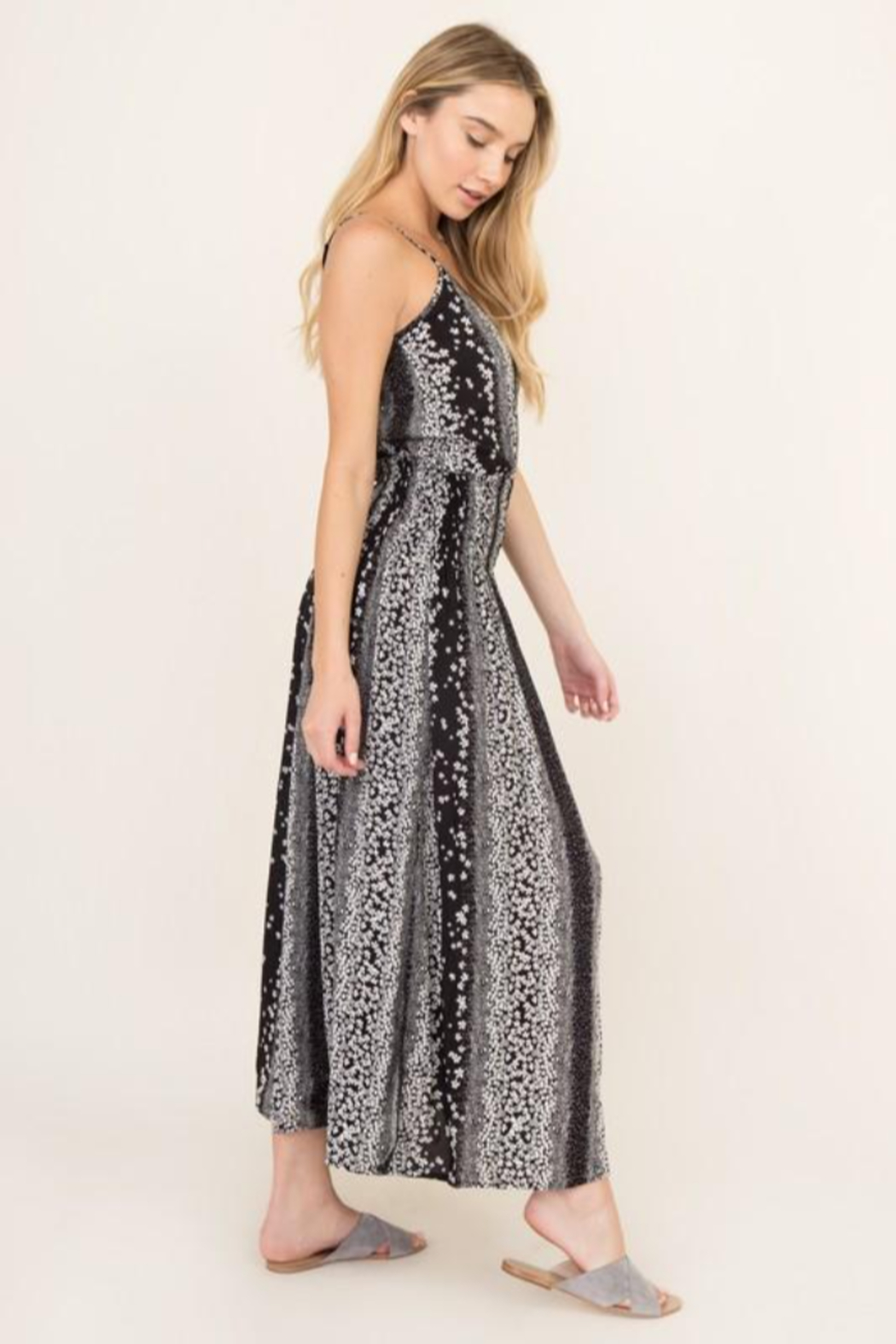 Olivaceous  Black Blossom Maxi Dress - Front Full Image