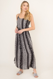 Olivaceous  Black Blossom Maxi Dress - Front cropped