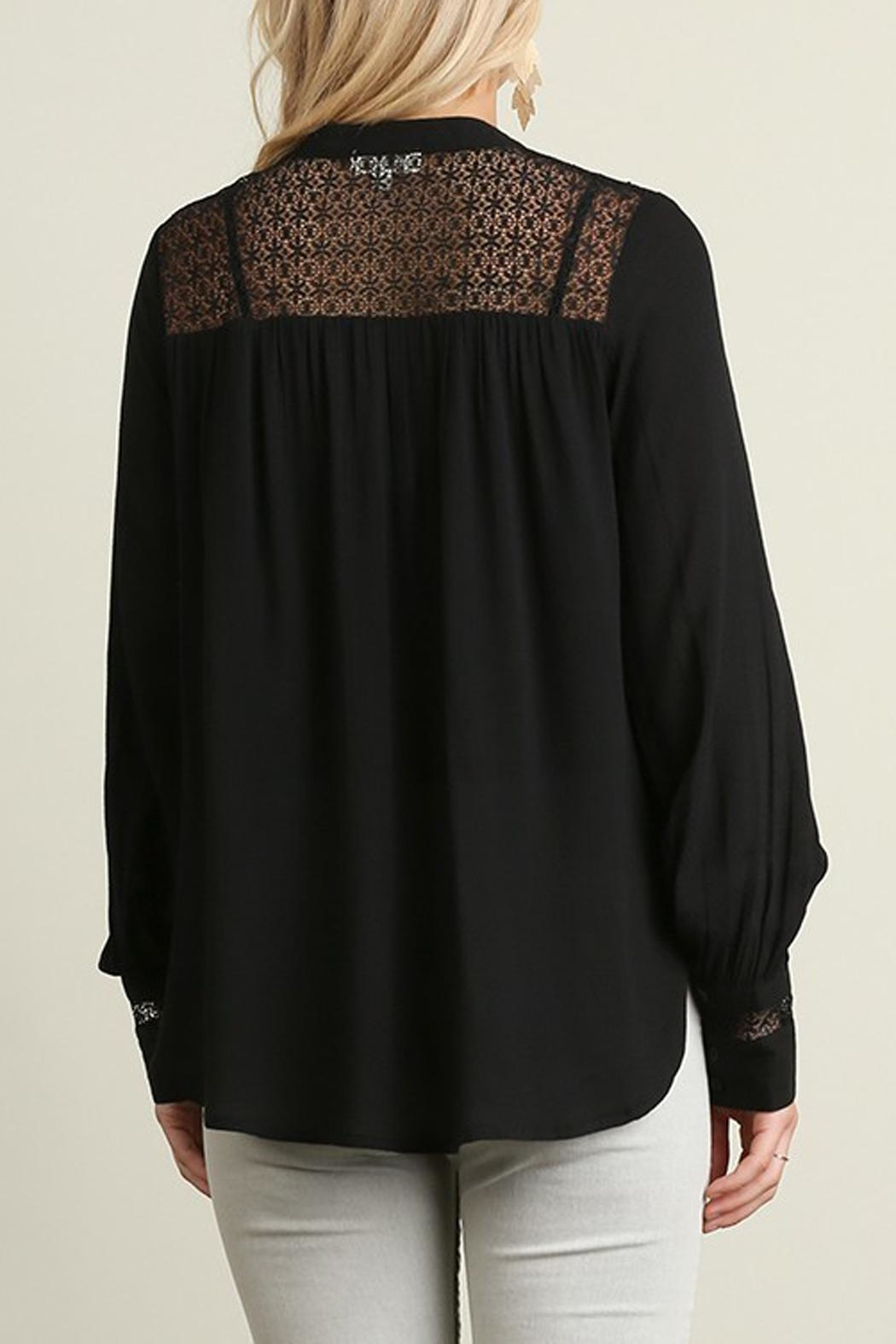 Umgee USA Black Blouse Lace-Detail - Front Full Image