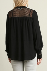 Umgee USA Black Blouse Lace-Detail - Front full body