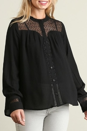 Umgee USA Black Blouse Lace-Detail - Front cropped