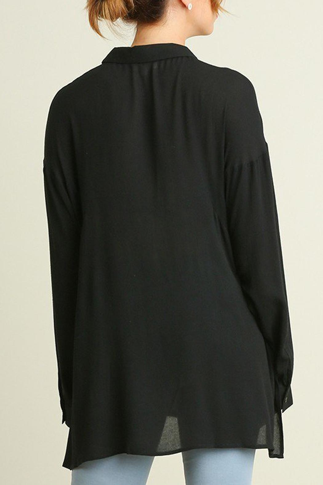 Umgee USA Black Blouse Side-Slit - Front Full Image