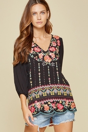 Savanna Jane Black Blouse with Floral Embroidery - Product Mini Image