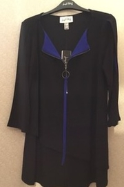 Joesph Ribkoff Black & Blue tunic top with half zip - Product Mini Image
