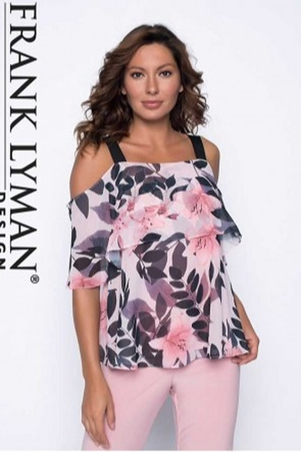 Frank Lyman BLACK/BLUSH/LIGHT BLUSH Top - Main Image