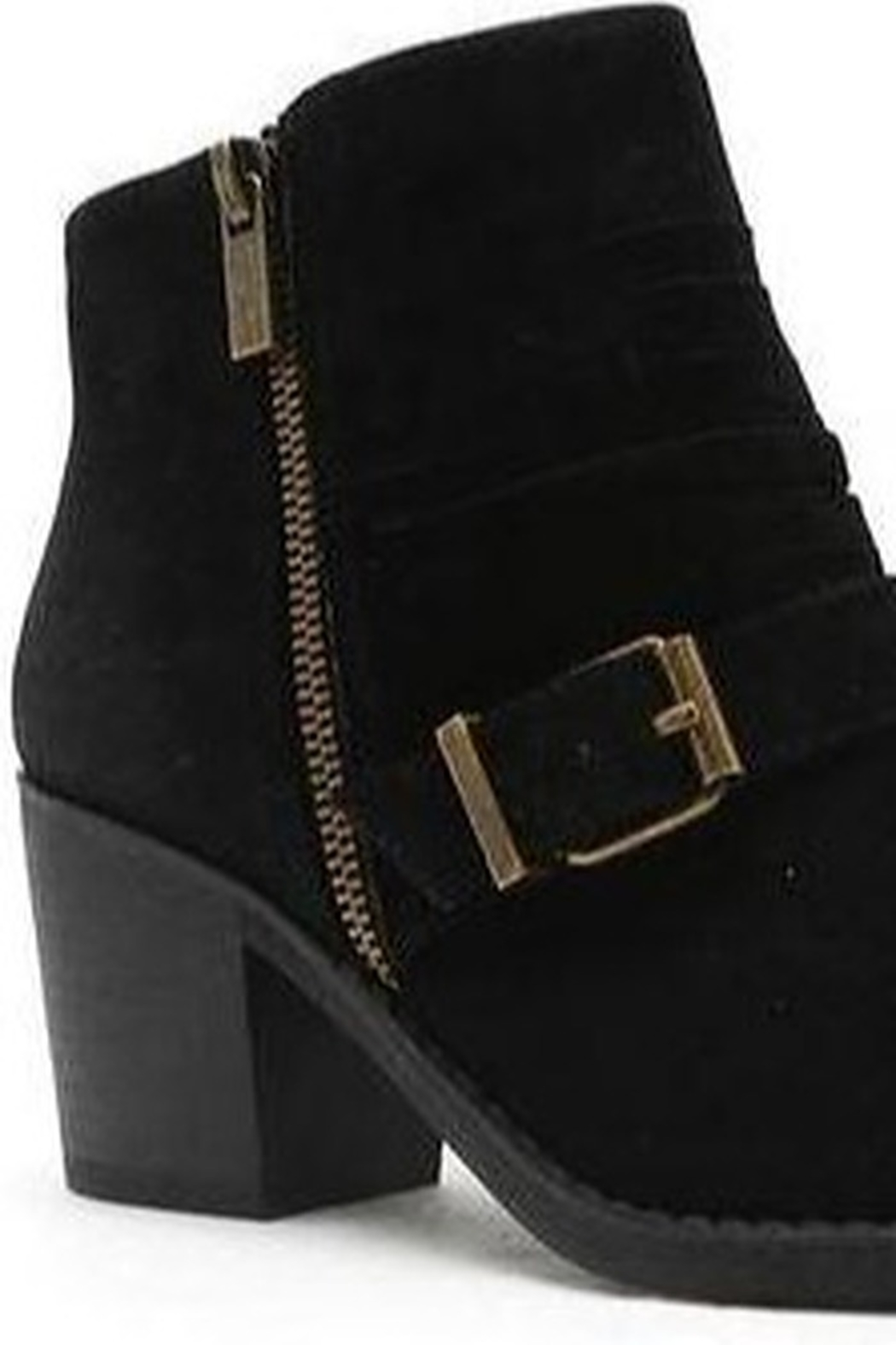 Qupid Black Bootie With Buckle - Side Cropped Image