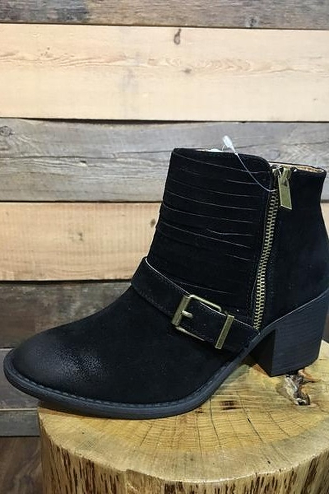 Qupid Black Bootie With Buckle - Main Image