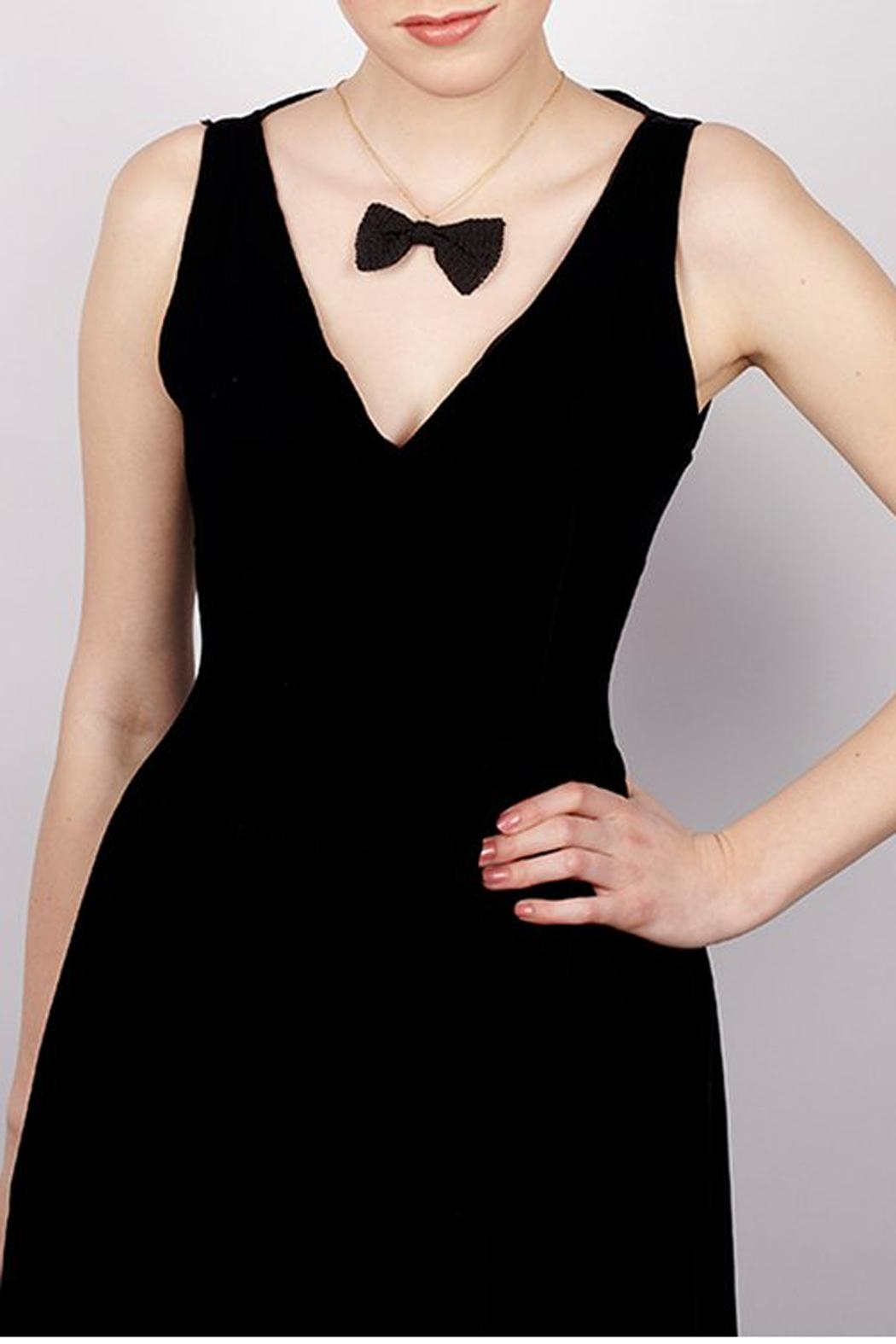 Rita in Palma Black Bow Necklace - Front Full Image