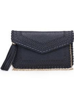 Street Level Black Braided Tassel Clutch - Alternate List Image