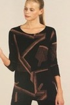 Clara Sunwoo Black/coffee geo tunic top - Alternate List Image
