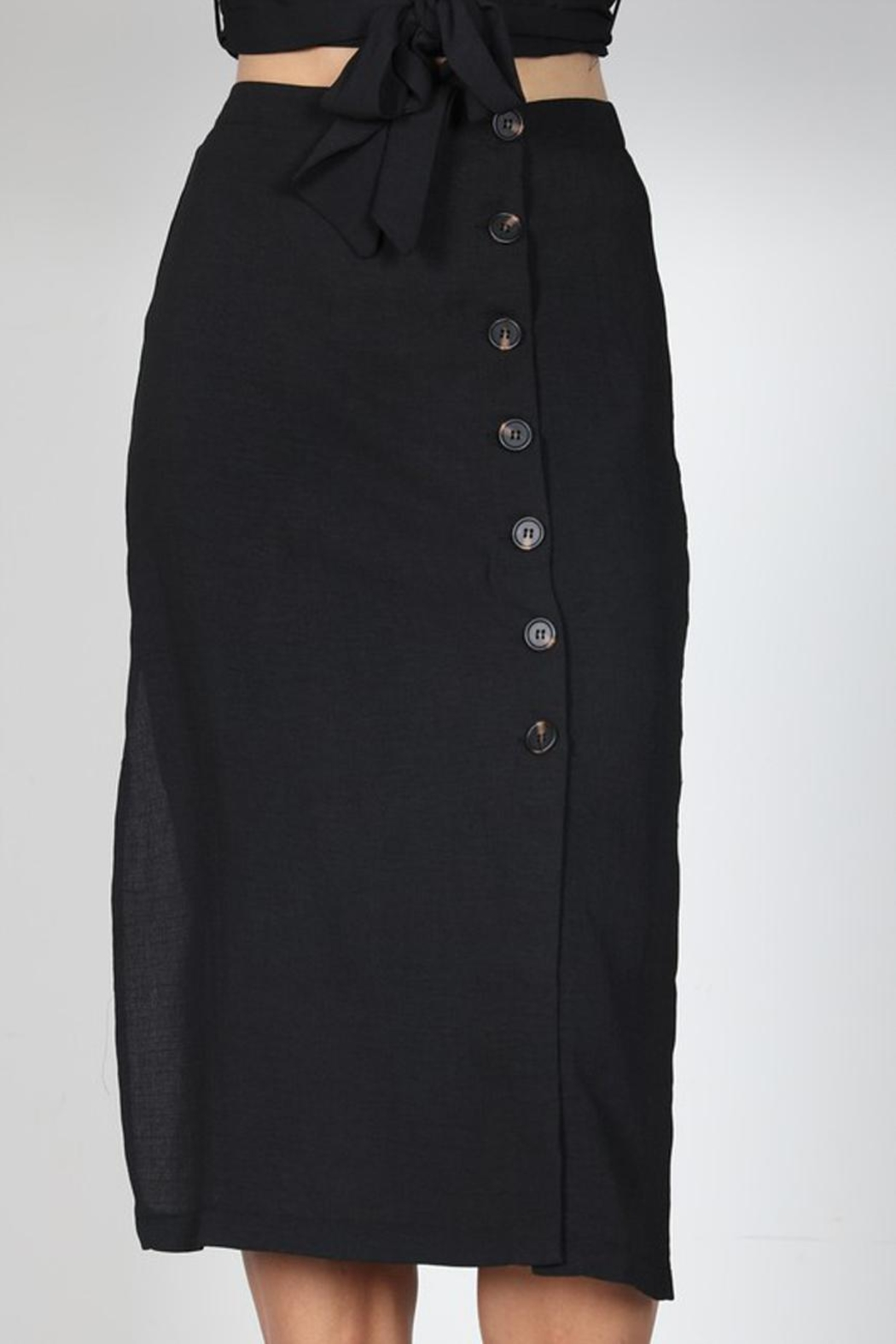 essue Black Button-Down Set - Back Cropped Image