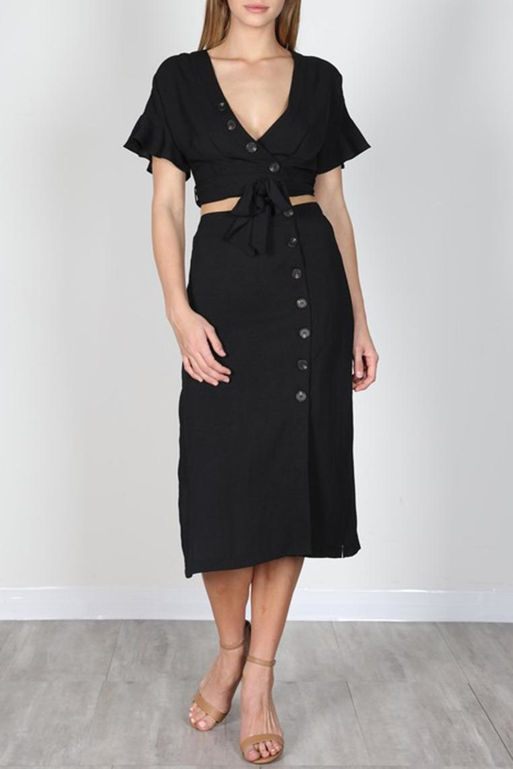 essue Black Button-Down Set - Front Cropped Image
