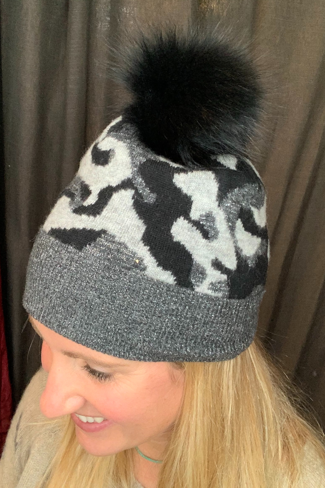 Mitchies Matching Black Charcoal, Grey Camo Fox Pom - Main Image