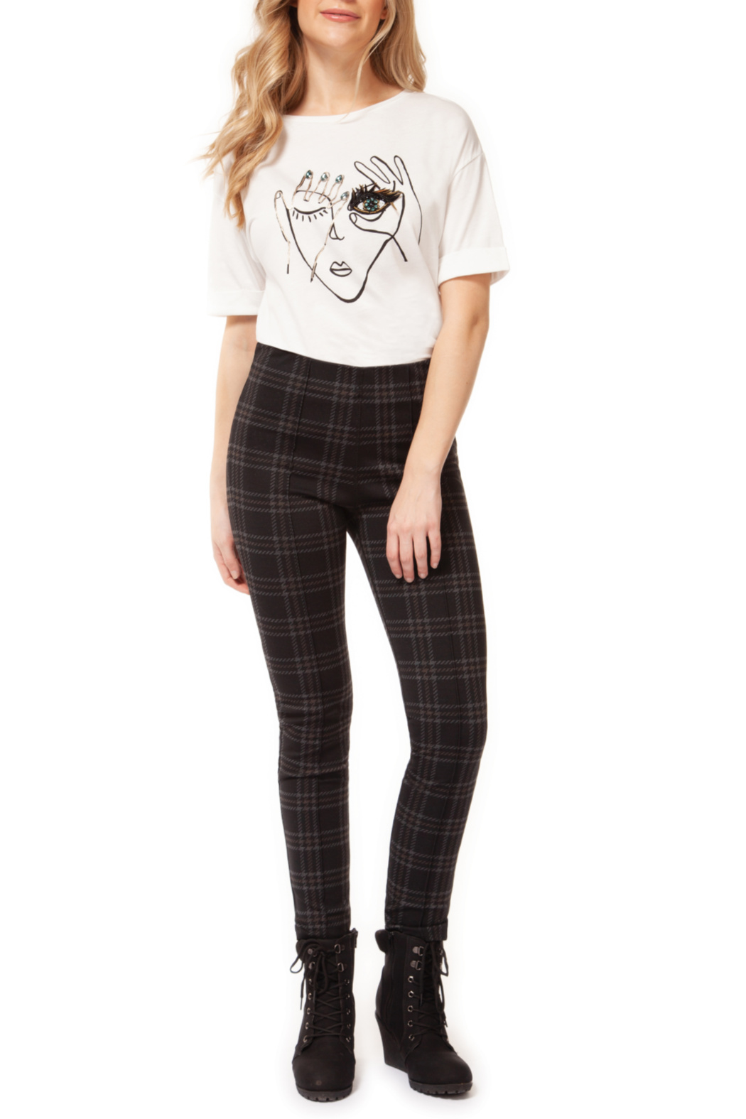 Dex Black Check Legging with Front Pintuck - Main Image