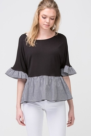 Les Amis Black-Checkered Ruffle Top - Product Mini Image