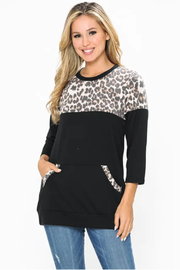 Now & Forever  Black cheetah top - Front cropped