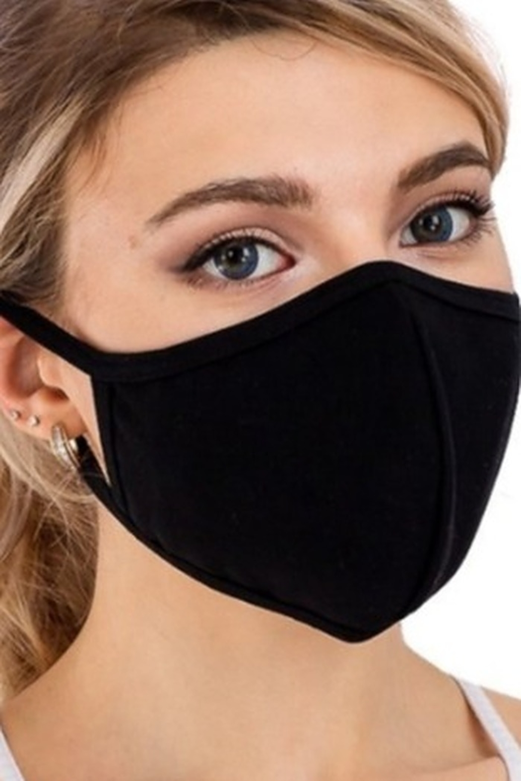 Cap Zone BLACK COTTON FACE MASK with FILTER SLOT - Main Image