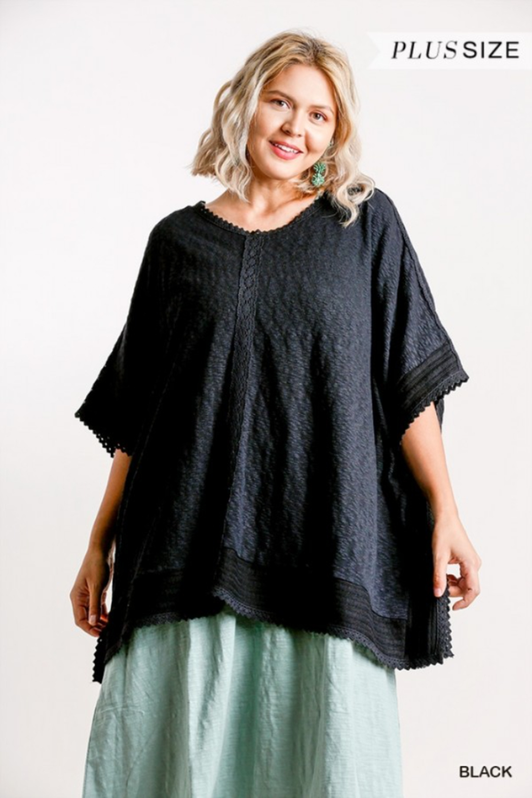 Umgee USA Black Cotton Plus Kaftan - Front Full Image