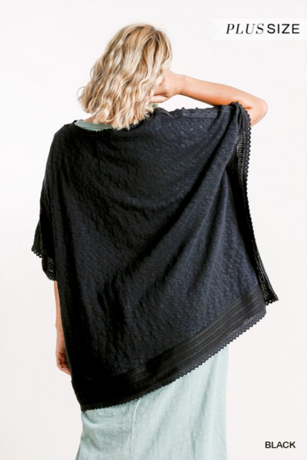 Umgee USA Black Cotton Plus Kaftan - Back Cropped Image