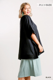 Umgee USA Black Cotton Plus Kaftan - Side cropped