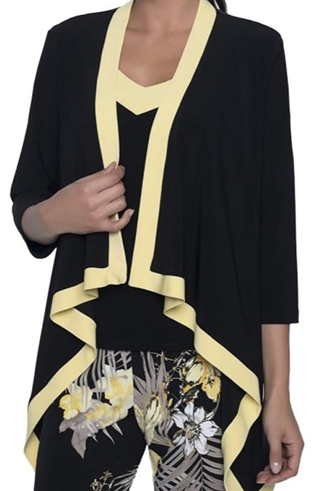 Frank Lyman Black coverup with yellow trim - Front Full Image