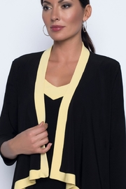 Frank Lyman Black coverup with yellow trim - Front cropped