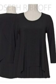 Joseph Ribkoff Black crew neck tunic top with 3/4 length sleeve - Product Mini Image
