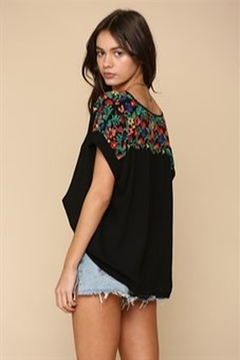 By Together  Black Crinkle Top with Floral Embroidered Shoulders - Alternate List Image