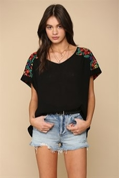 By Together  Black Crinkle Top with Floral Embroidered Shoulders - Product List Image