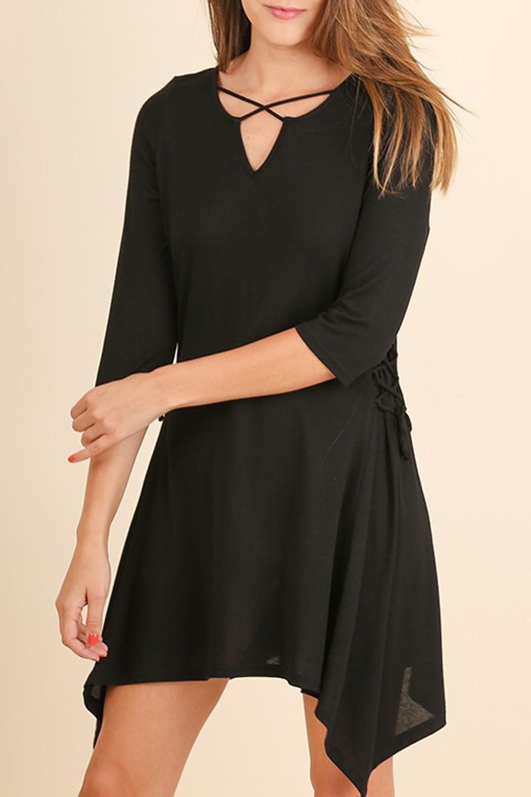 Umgee USA Black Criss-Cross-Tie Tunic - Front Cropped Image
