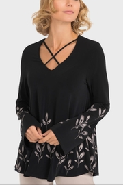 Joseph Ribkoff Black crisscross long sleeve tunic - Product Mini Image