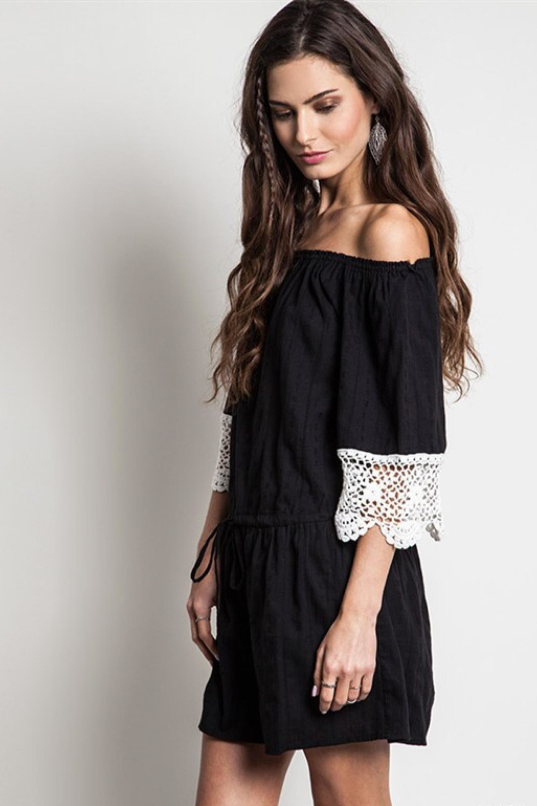 People Outfitter Black Crochet Dress - Front Full Image