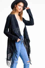 Miracle Black Crochet Sweater Cardigan - Front cropped
