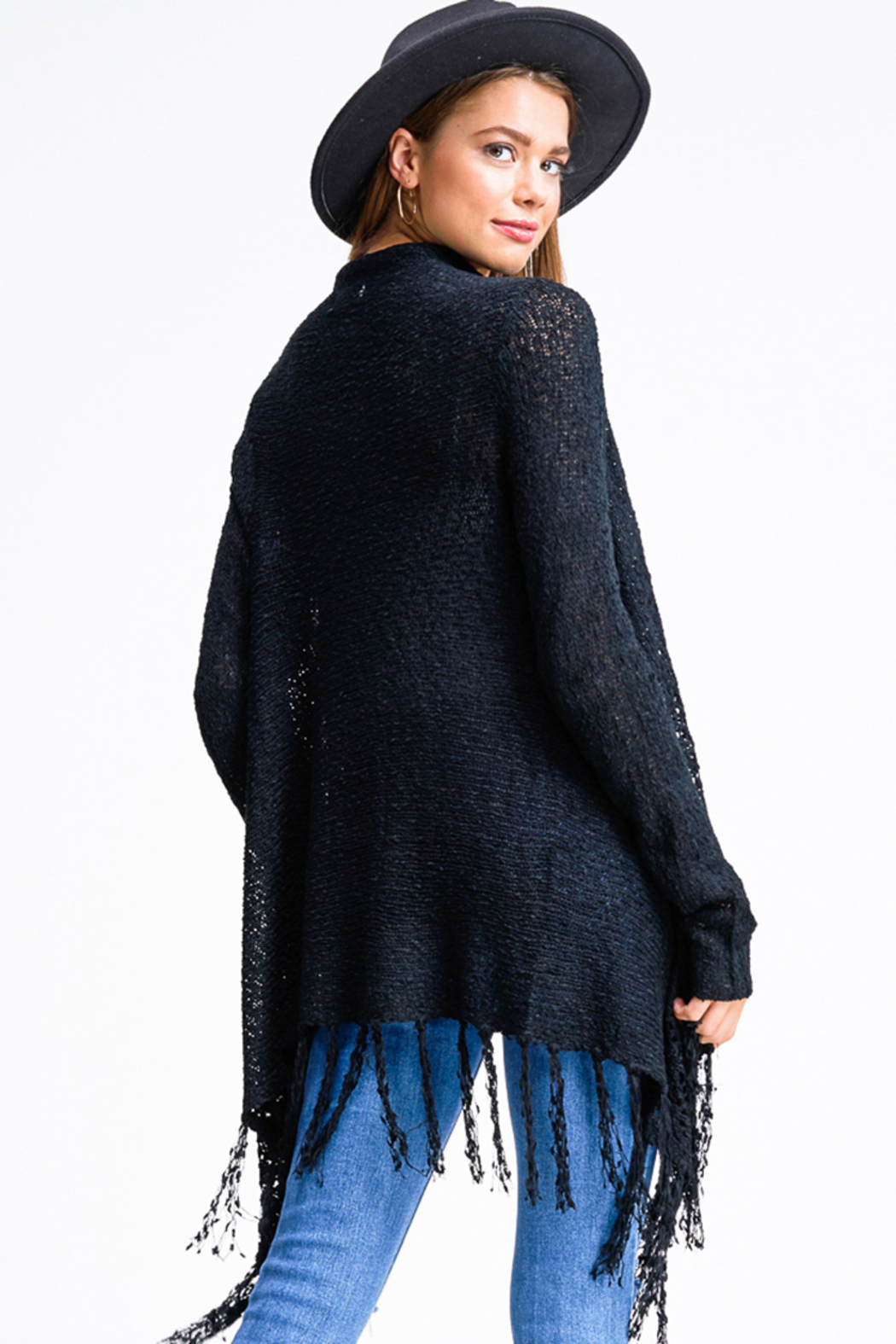 Miracle Black Crochet Sweater Cardigan - Back Cropped Image