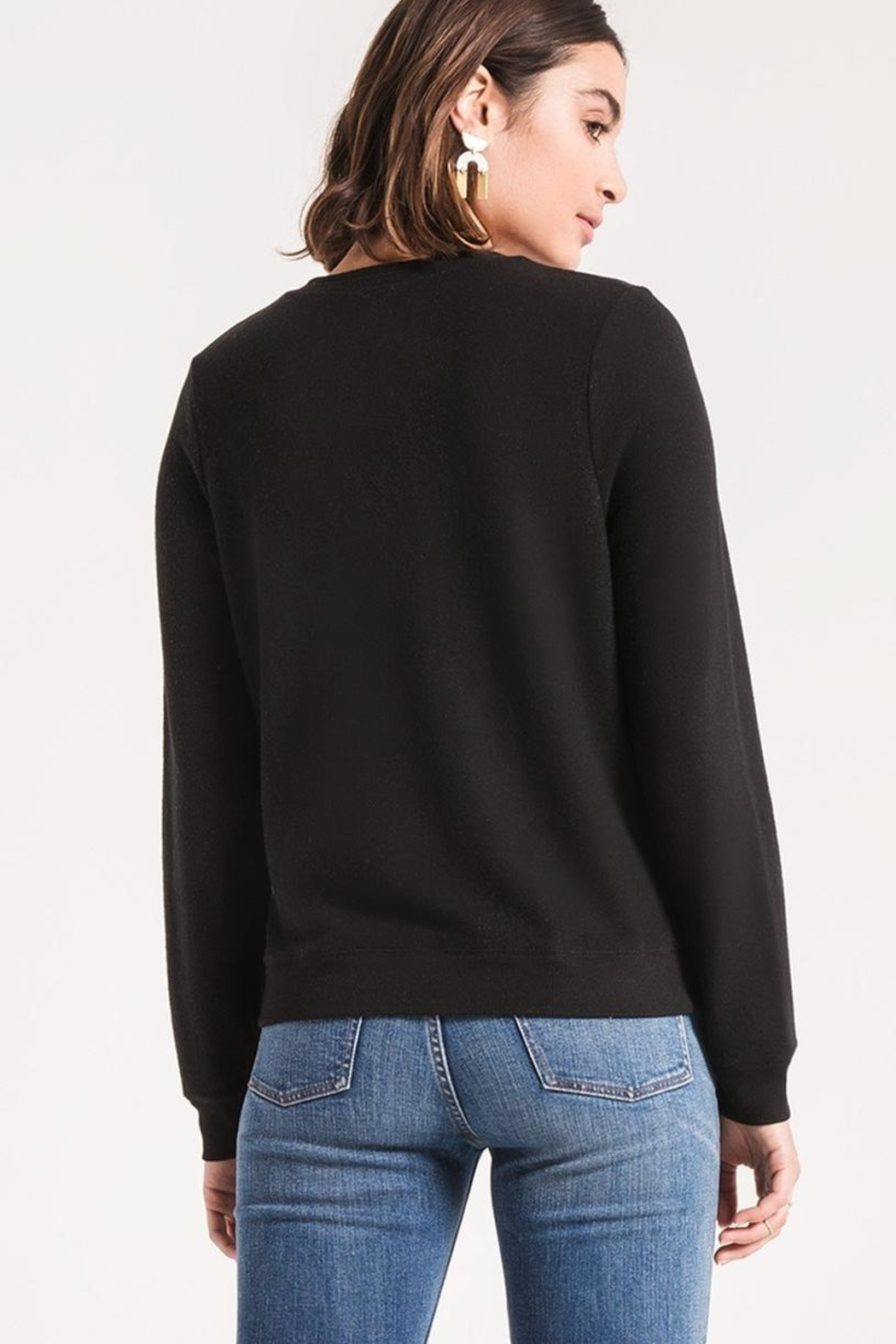 z supply Black Crossfront Sweater - Front Full Image