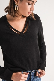 z supply Black Crossfront Sweater - Product Mini Image