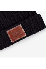 Love Your Melon Black Cuffed Beanie - Front full body