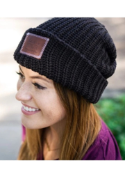 Love Your Melon Black Cuffed Beanie - Side cropped