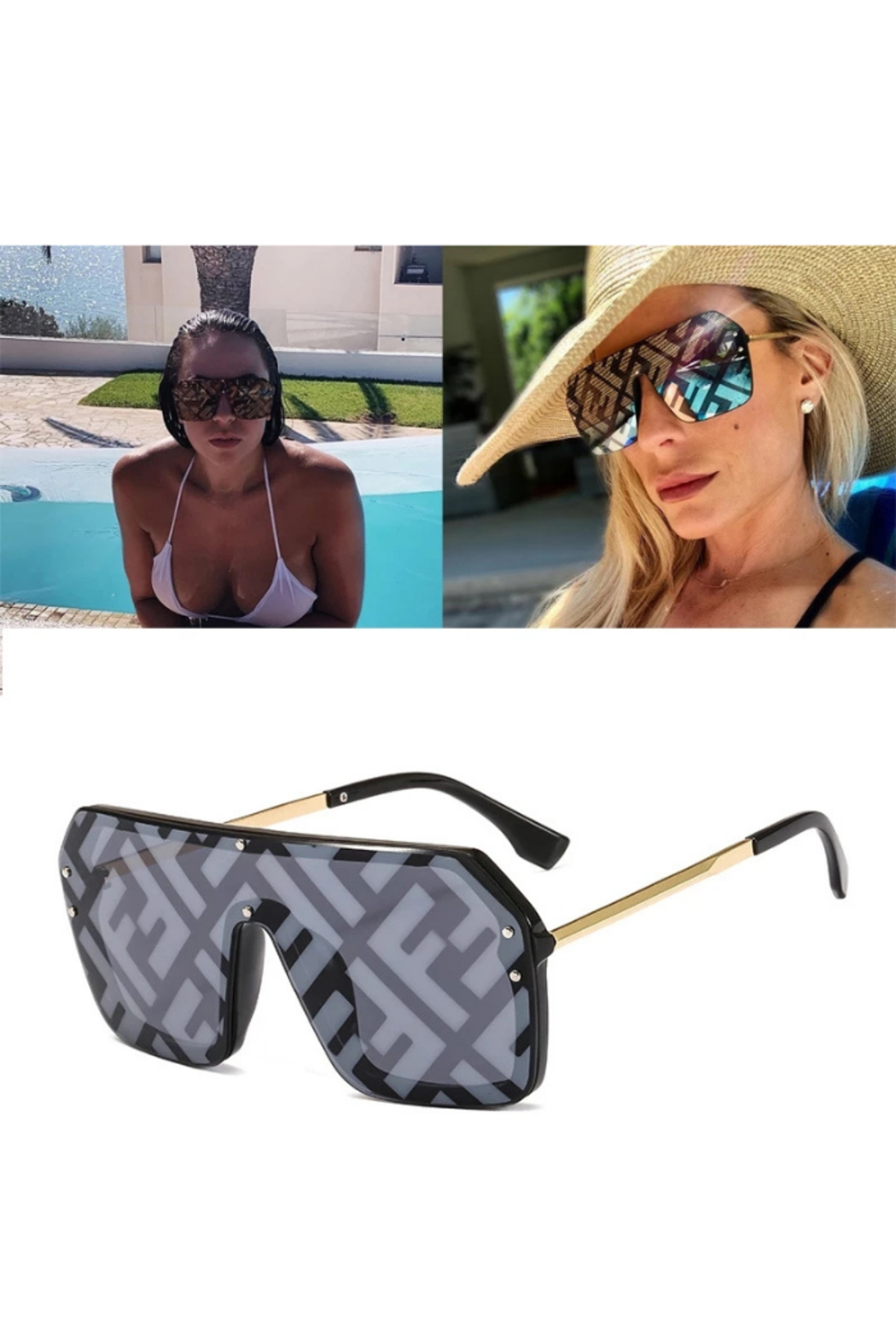 Tiny House of Fashion Black Designer Inspired Sunglasses - Front Cropped Image