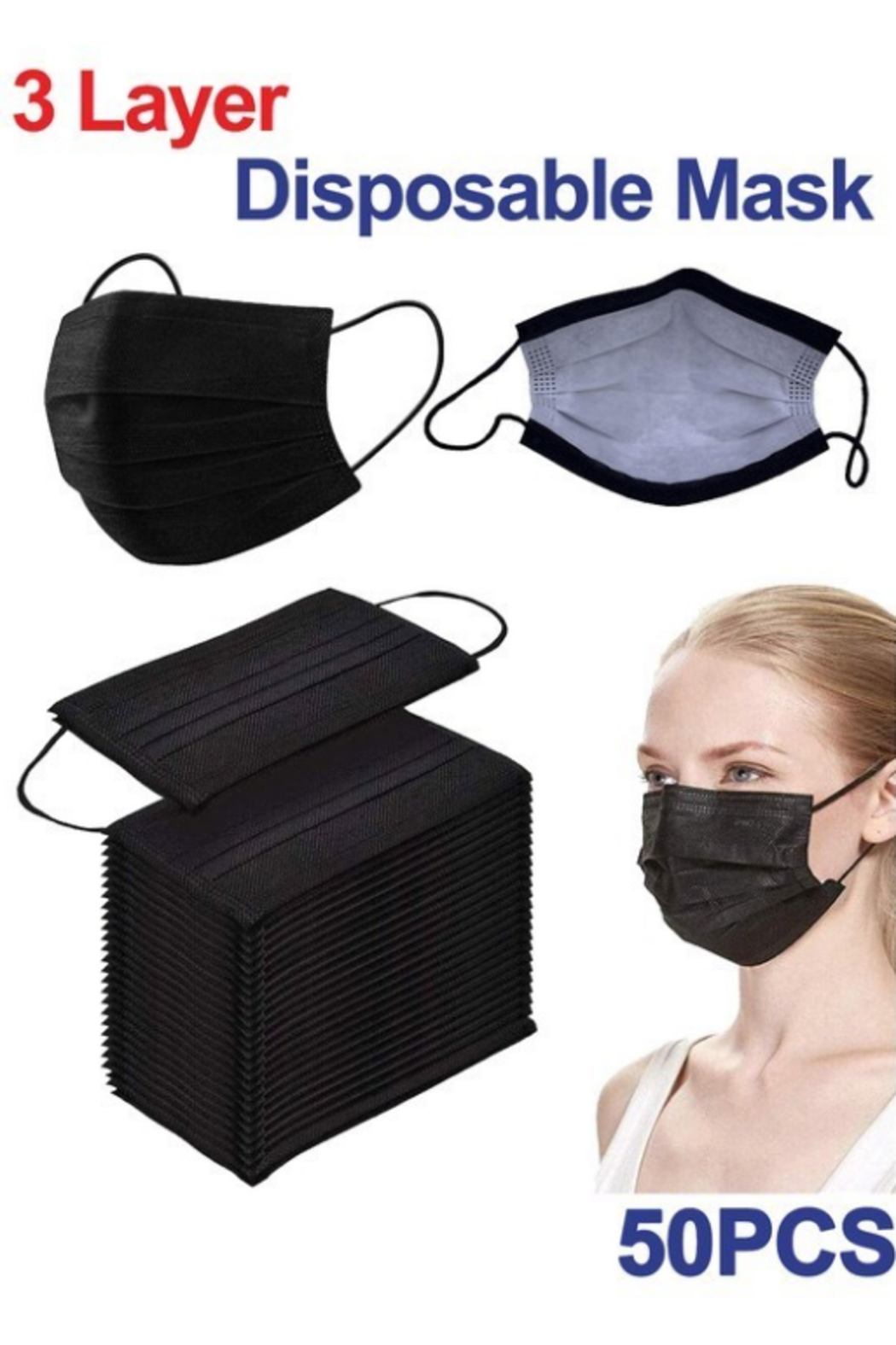 Peekaboo Black Disposable Mask 50 ct. - Side Cropped Image