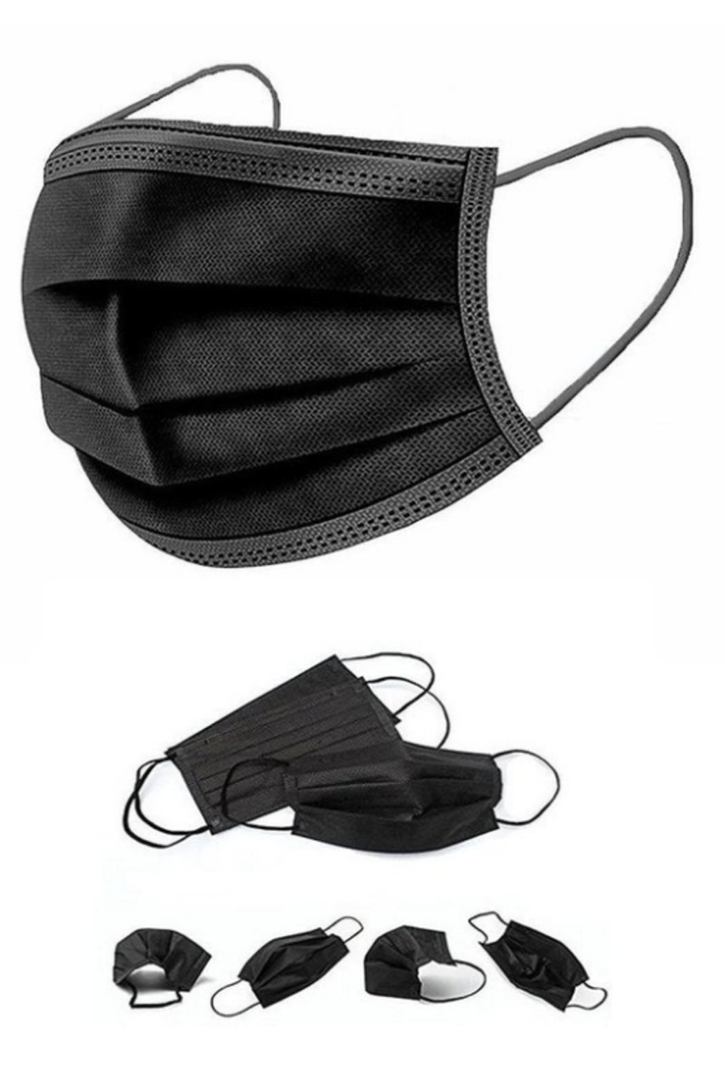 Peekaboo Black Disposable Mask 50 ct. - Front Cropped Image