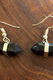 Amber Black Double Point Crystal Dangly Earrings - Product Mini Image