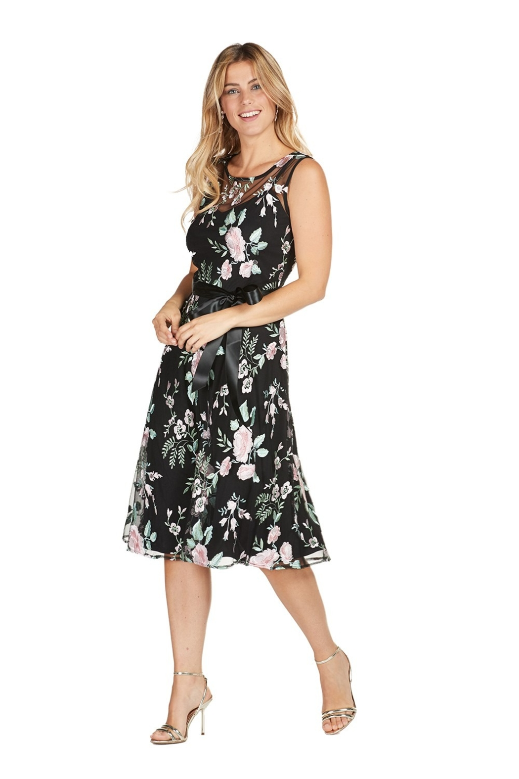 Frank Lyman black dress with embroidered flowers - Main Image