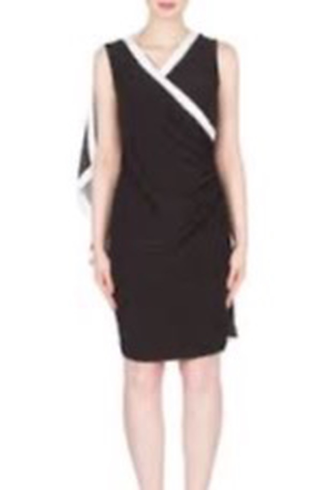 Joseph Ribkoff Black dress with white trim and mesh accent - Main Image