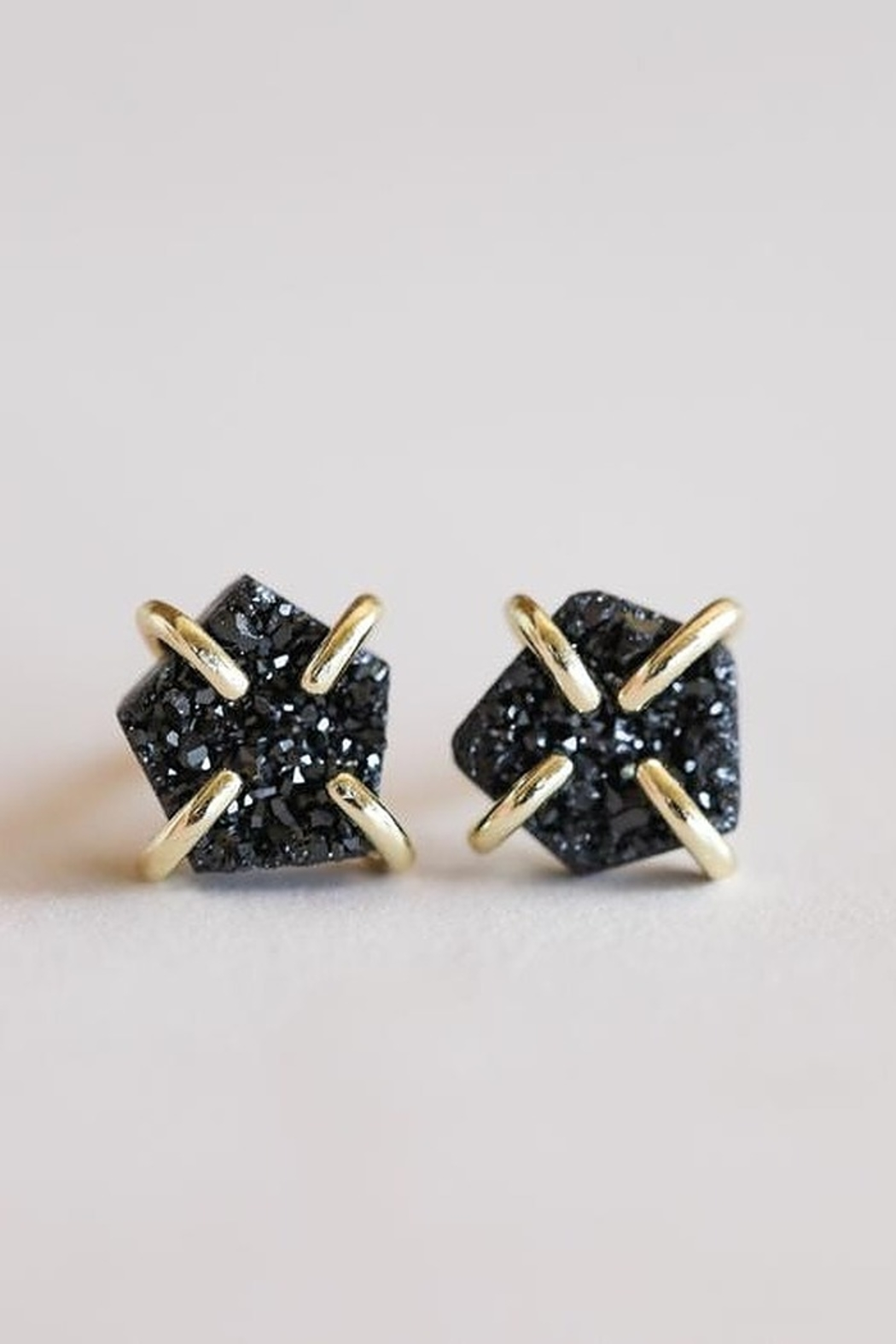 JaxKelly Black Druzy Prong Earrings - Front Cropped Image